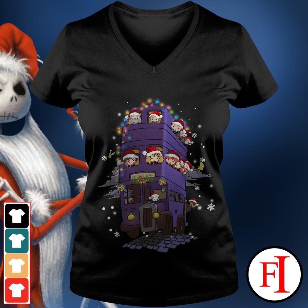 Christmas Harry Potter knight bus V-neck t-shirt