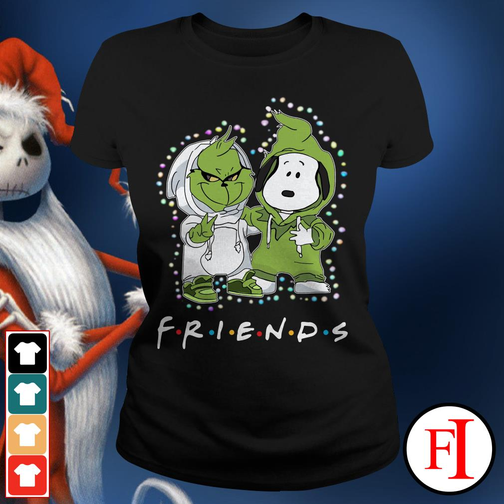 Christmas light Baby Grinch and Snoopy Friends Ladies Tee