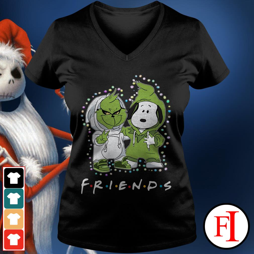 Christmas light Baby Grinch and Snoopy Friends V-neck t-shirt
