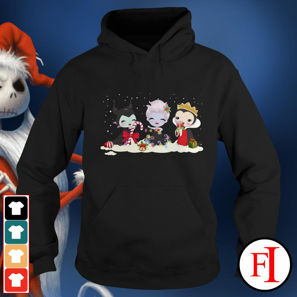 Christmas Maleficent Ursula and Evil Queen chibi characters Hoodie