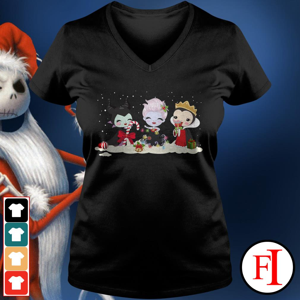 Christmas Maleficent Ursula and Evil Queen chibi characters V-neck t-shirt