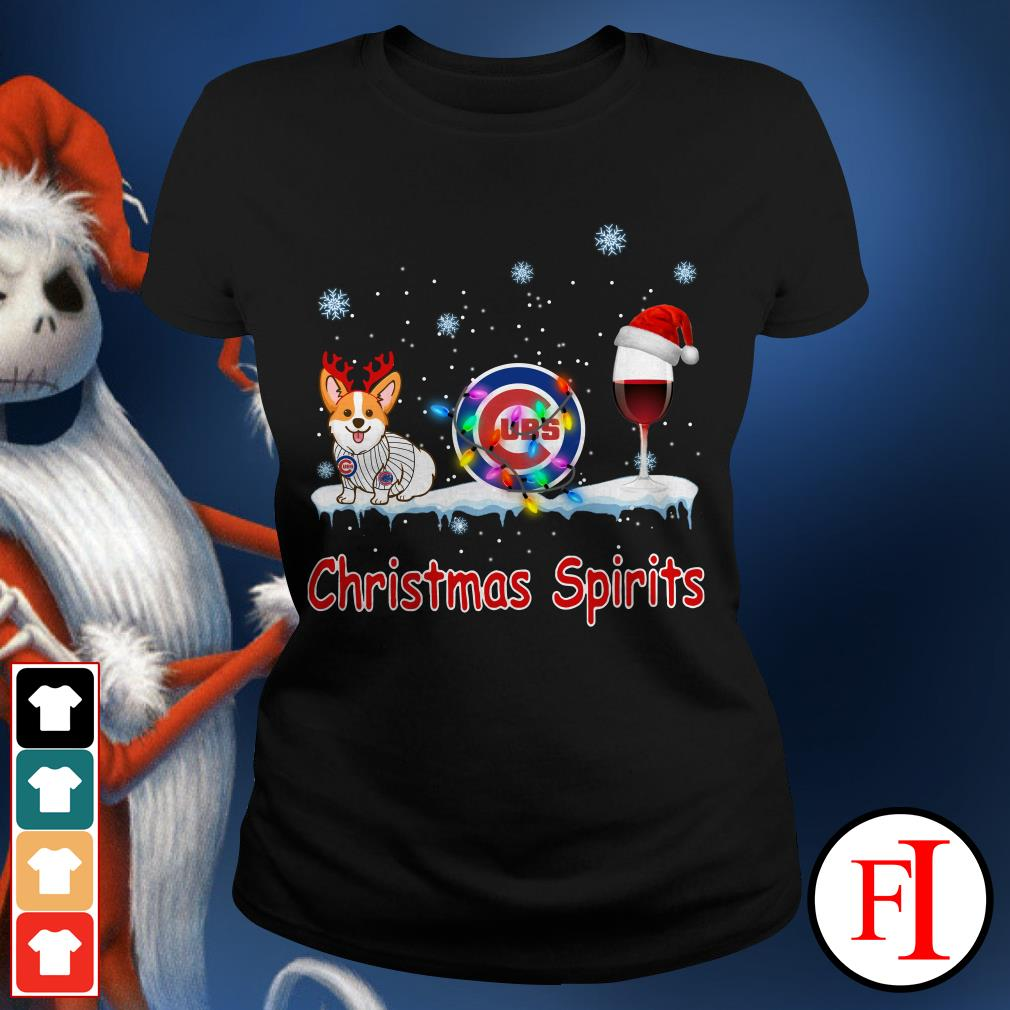 Christmas Spirit Chicago Cubs Corgi Ladies Tee