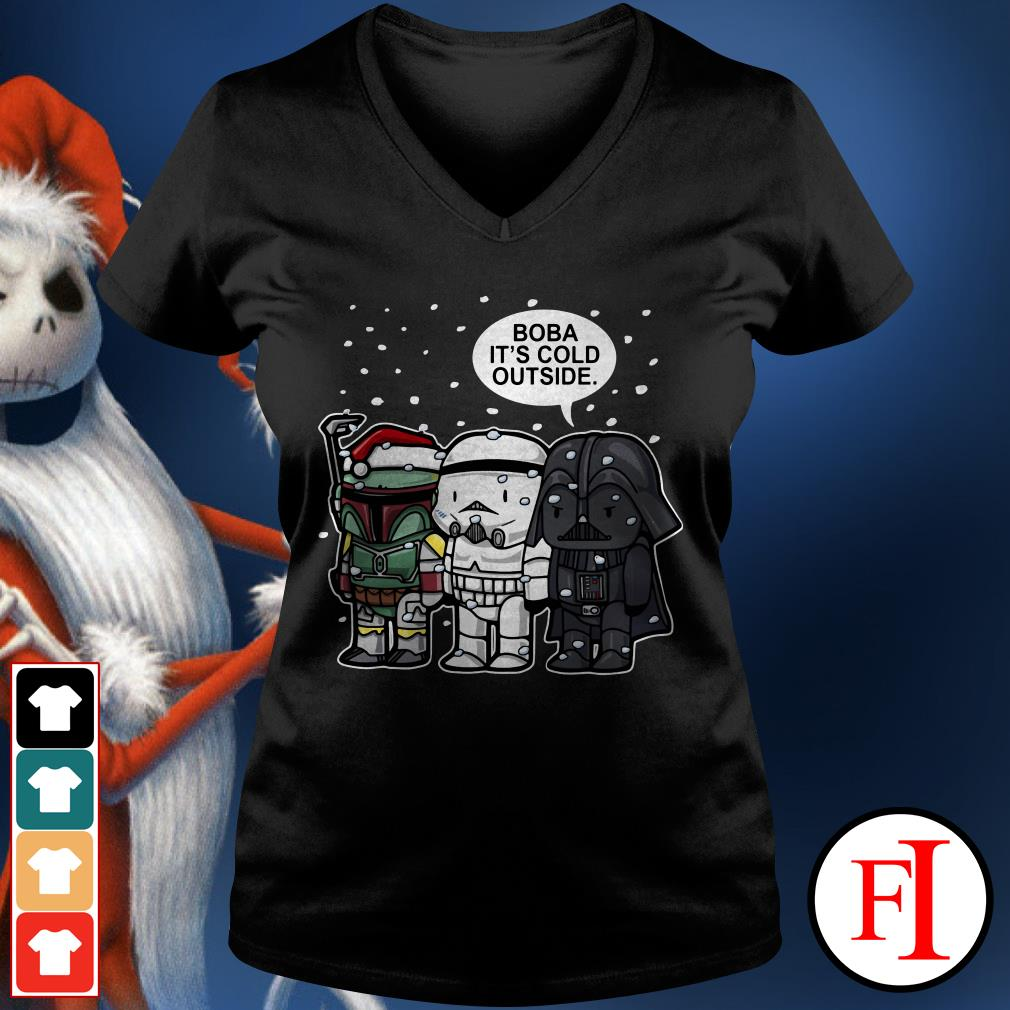 Christmas Star Wars Boba it's cold outside V-neck t-shirt