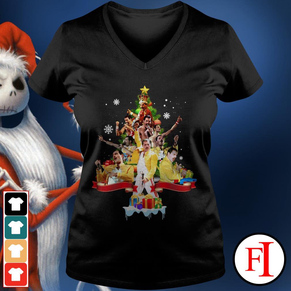 Christmas tree Freddie Mercury V-neck t-shirt