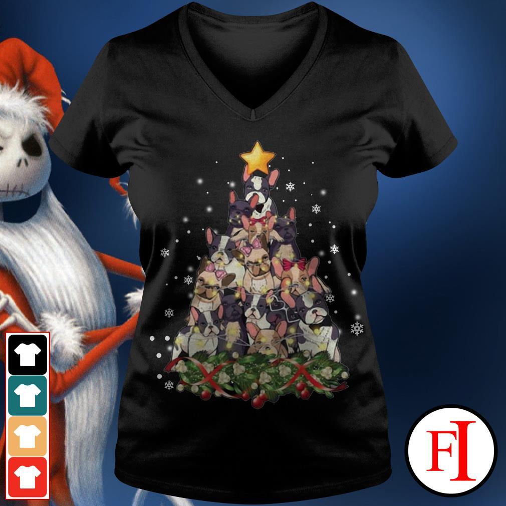 Christmas tree French Bulldog V-neck t-shirt