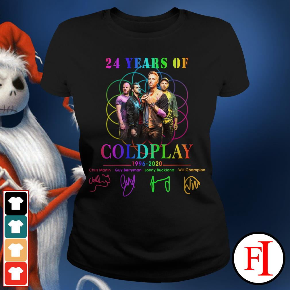 Coldplay 24 years of 1996-2020 signatures Ladies Tee