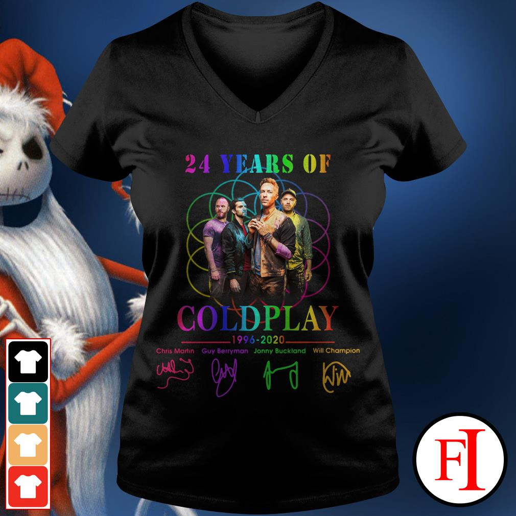 Coldplay 24 years of 1996-2020 signatures V-neck t-shirt