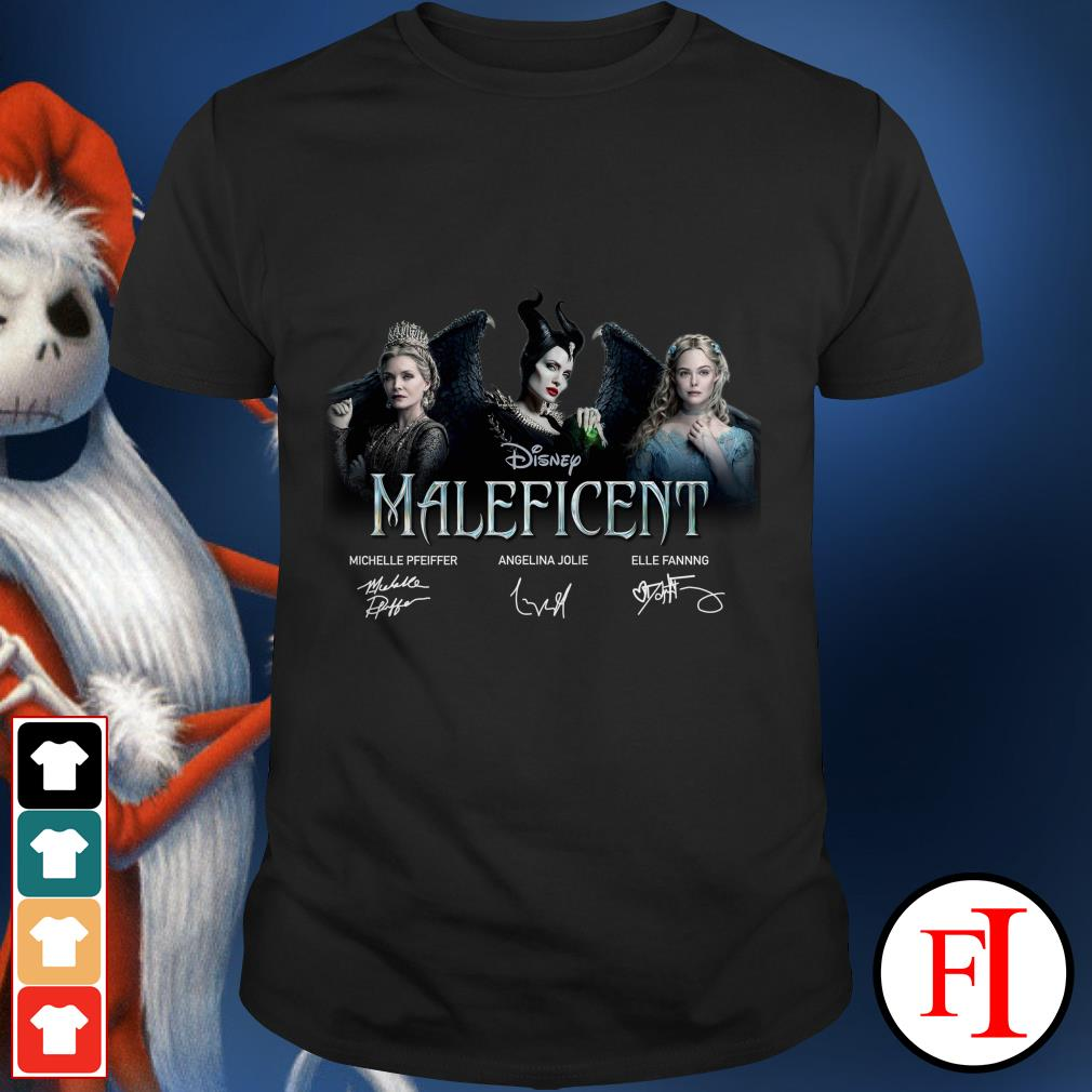 Disney Maleficent Michelle Pfeiffer Angelina Jolie signatures shirt
