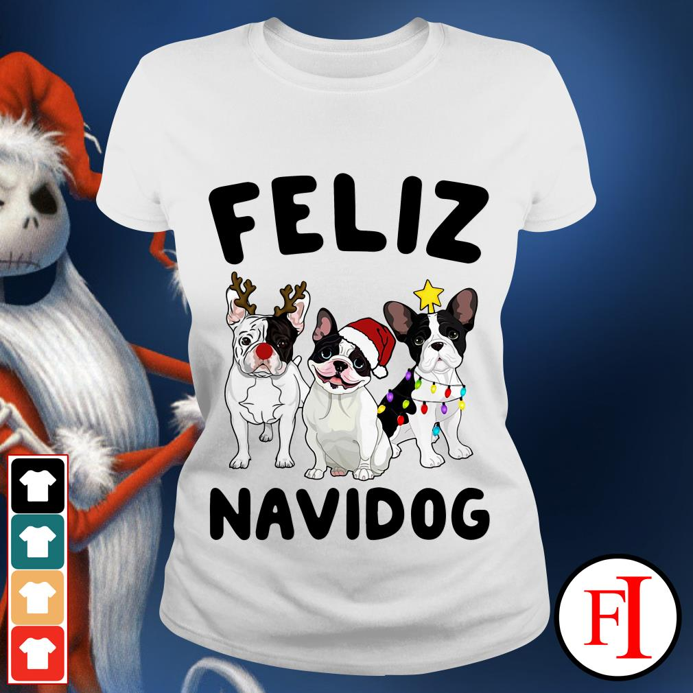 Feliz Navidog French Bulldog Ladies tee