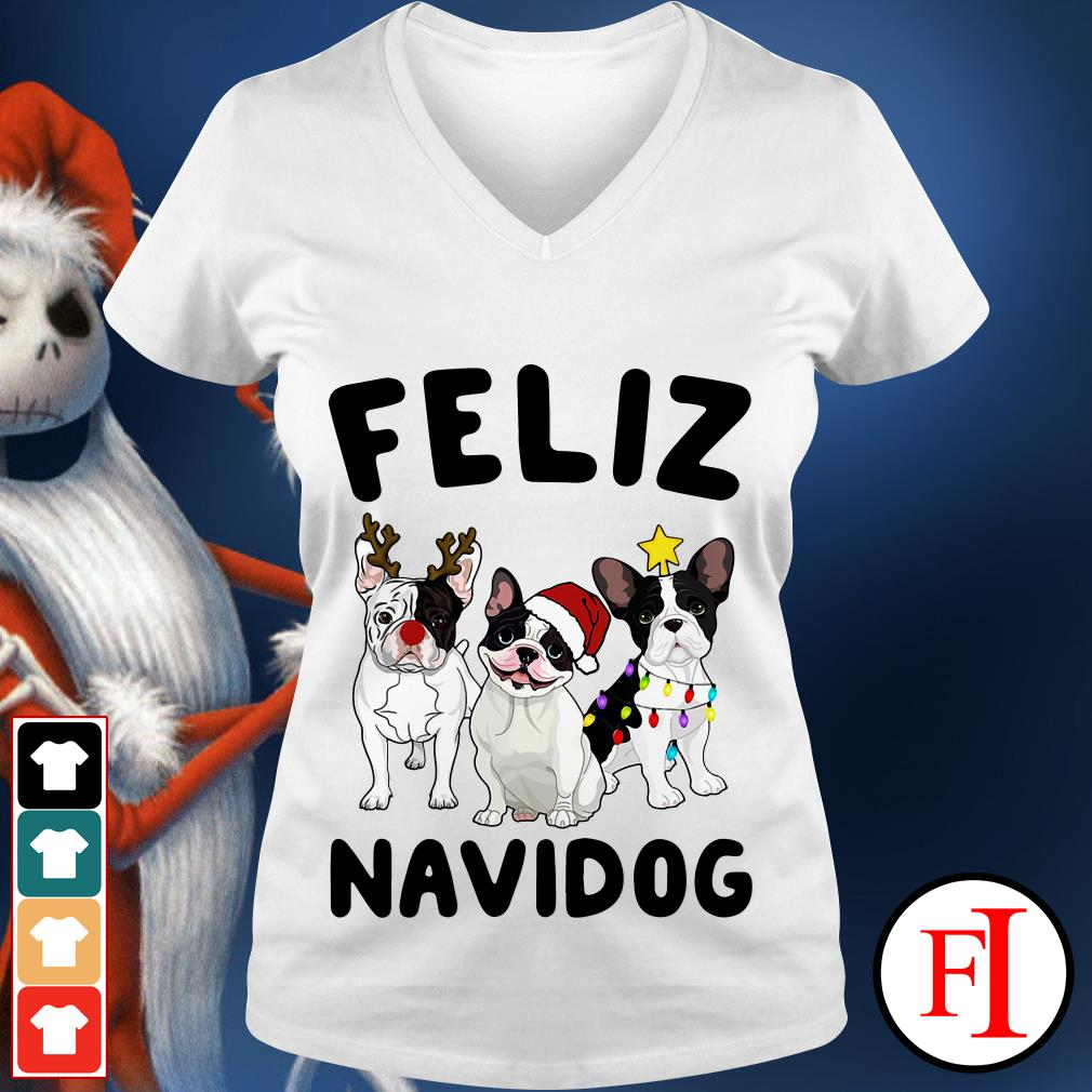 Feliz Navidog French Bulldog V-neck t-shirt
