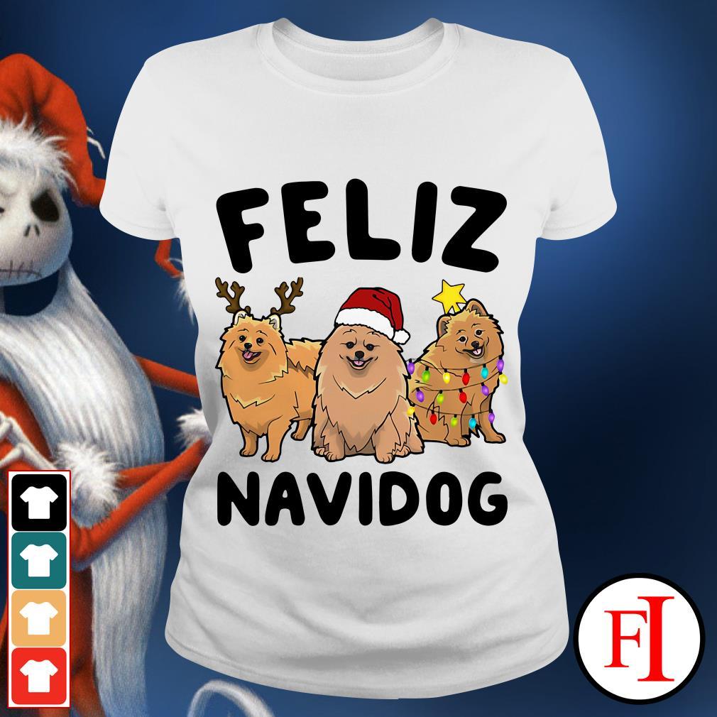 Feliz Navidog Pomeranian Ladies tee
