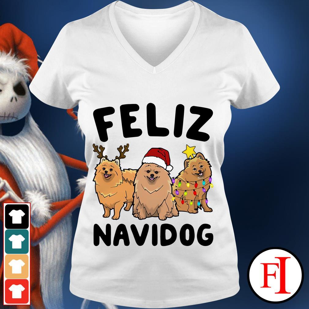 Feliz Navidog Pomeranian V-neck t-shirt