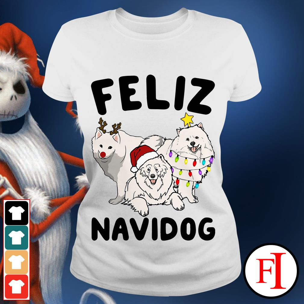 Feliz Navidog Samoyed Ladies tee