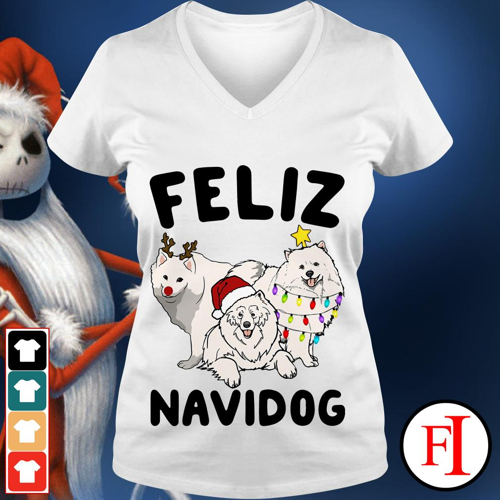 Feliz Navidog Samoyed V-neck t-shirt