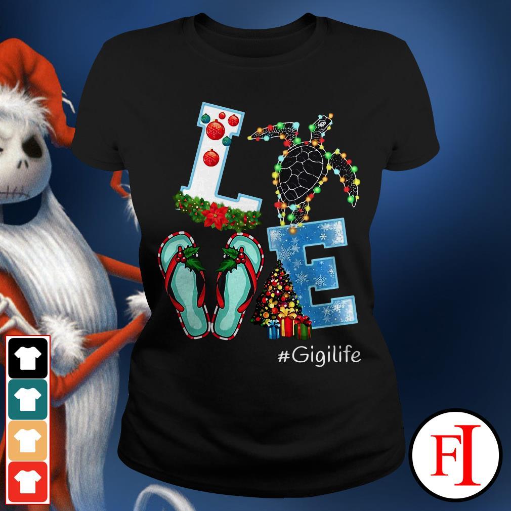 Gigilife Christmas Love turtle Ladies Tee