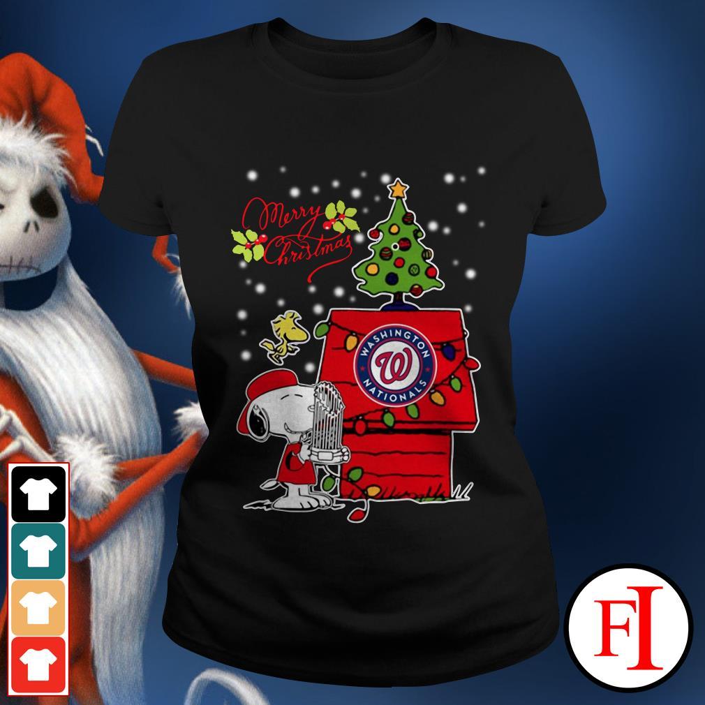 Merry Christmas ugly sweat Snoopy Washington Nationals Ladies Tee