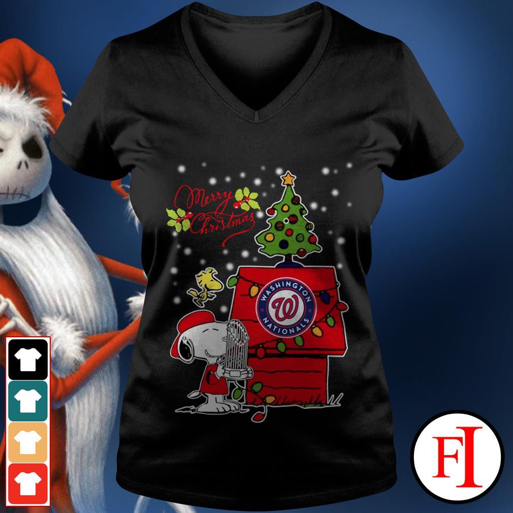 Merry Christmas ugly sweat Snoopy Washington Nationals V-neck t-shirt