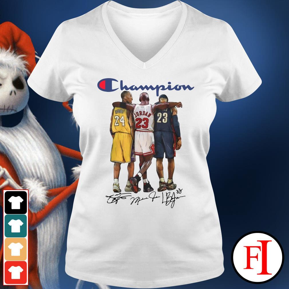 Michael Jordan signatures Champion Lebron James Kobe Bryant V-neck t-shirt