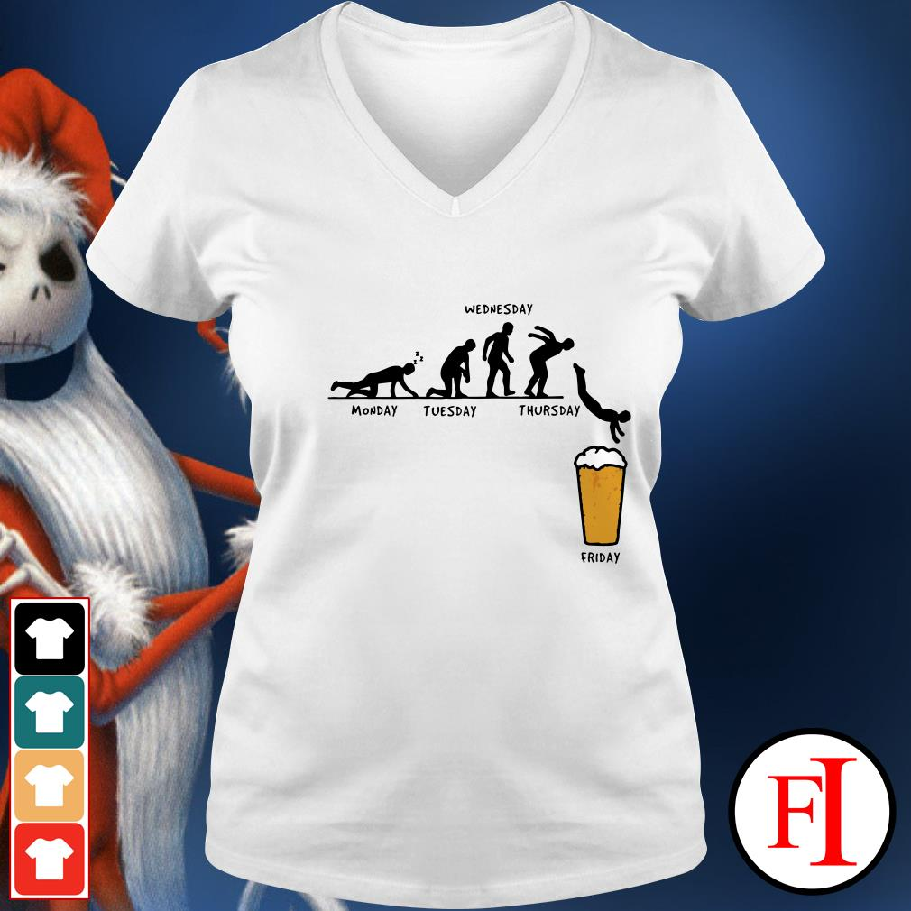 Monday Tuesday Wednesday Thursday Friday Beer V-neck t-shirt