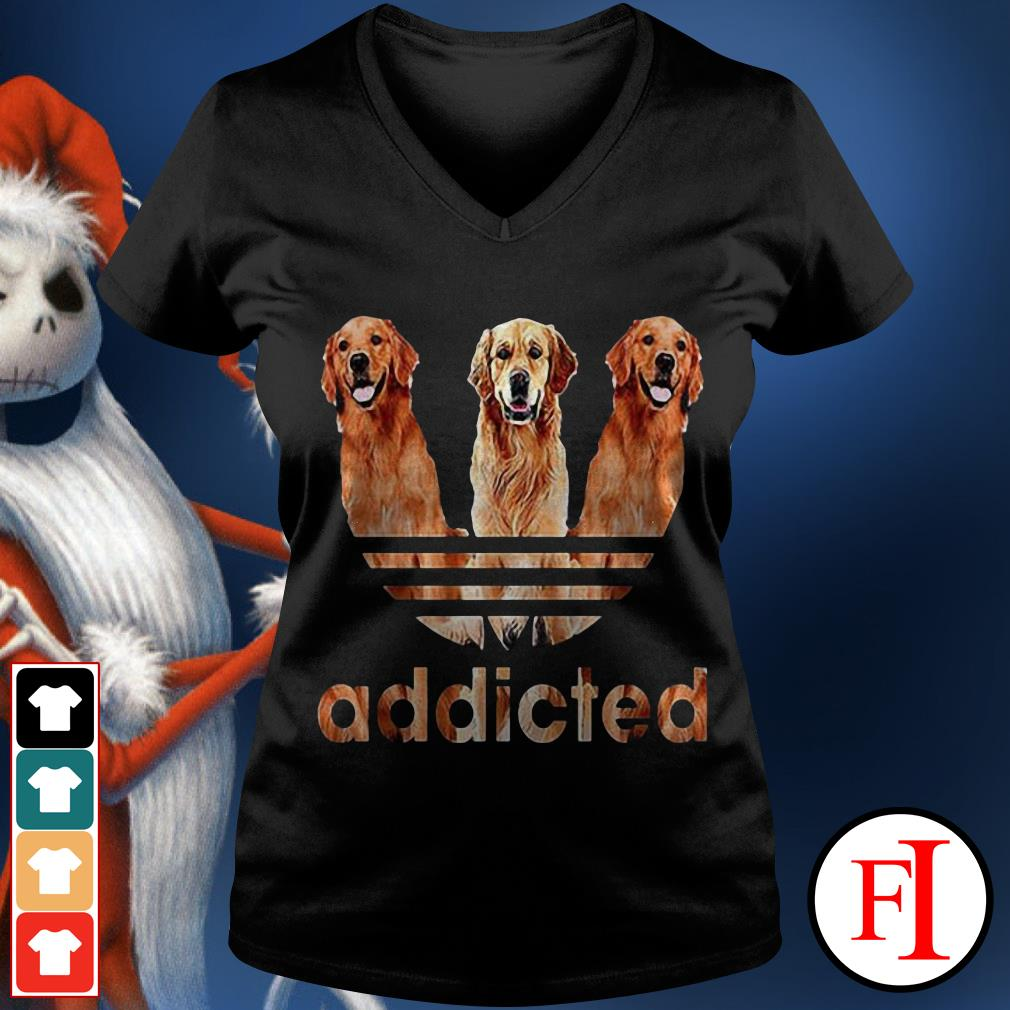 Official Adidas Golden Retriever addicted V-neck t-shirt