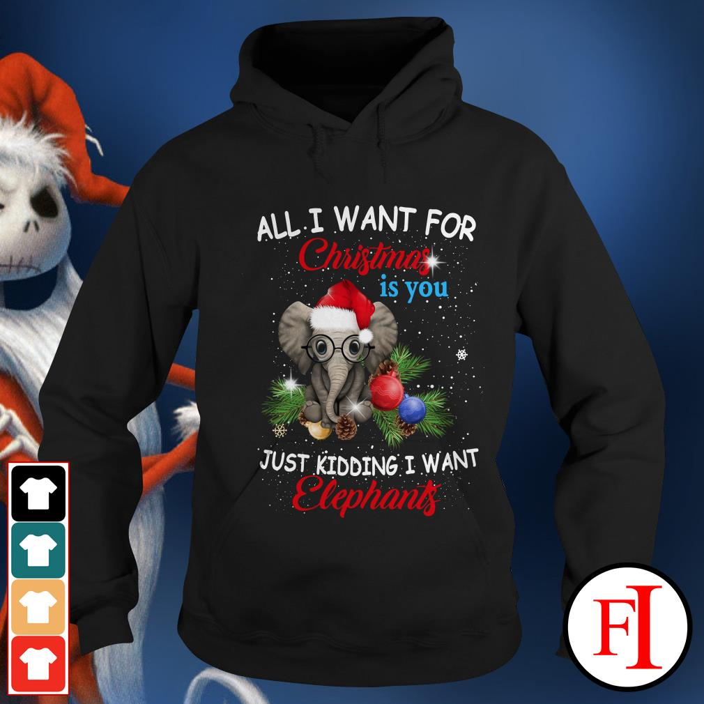 Official All I want for Christmas is you just kidding I want elephants Hoodie