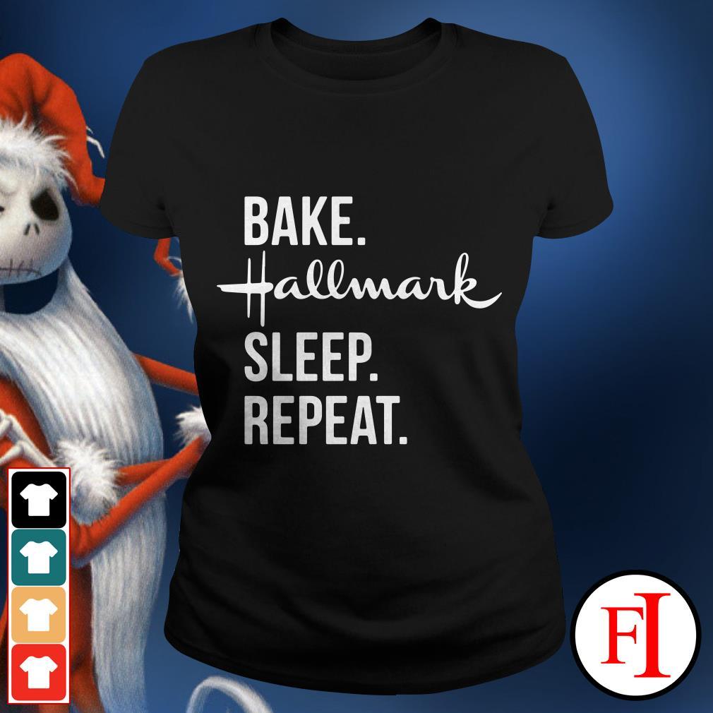 Official Bake Hallmark sleep repeat Ladies tee