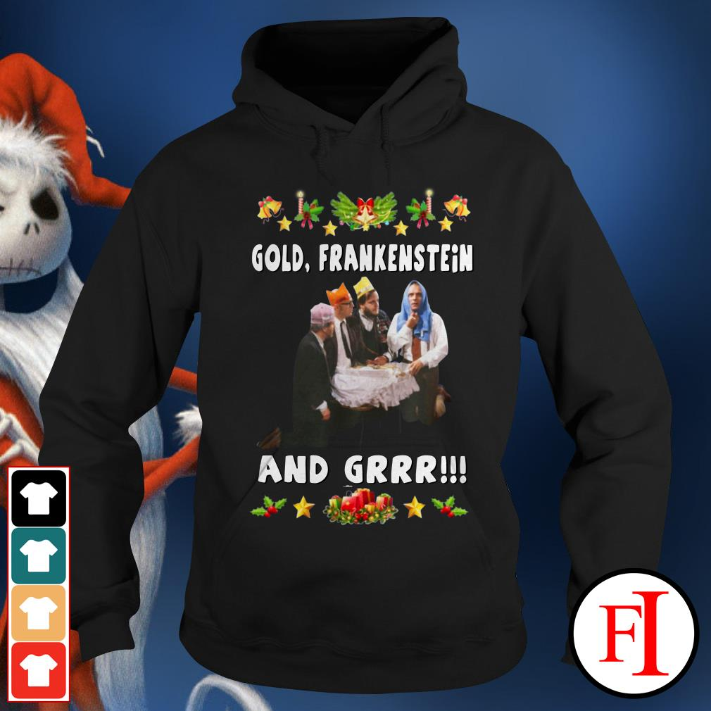 Official Gold Frankenstein and grrr Christmas Hoodie