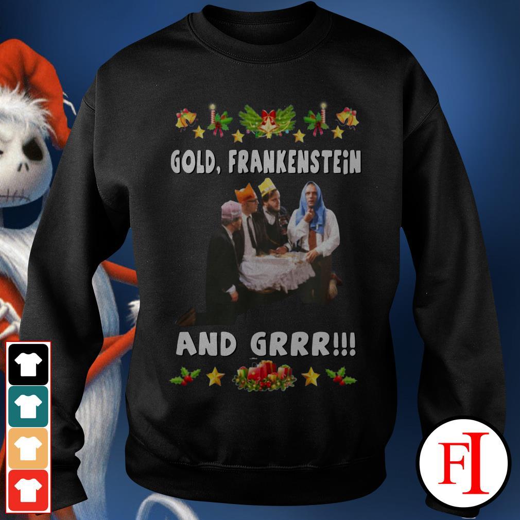 Official Gold Frankenstein and grrr Christmas Sweater