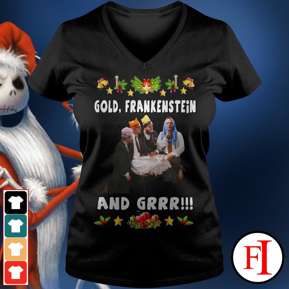 Official Gold Frankenstein and grrr Christmas V-neck t-shirt