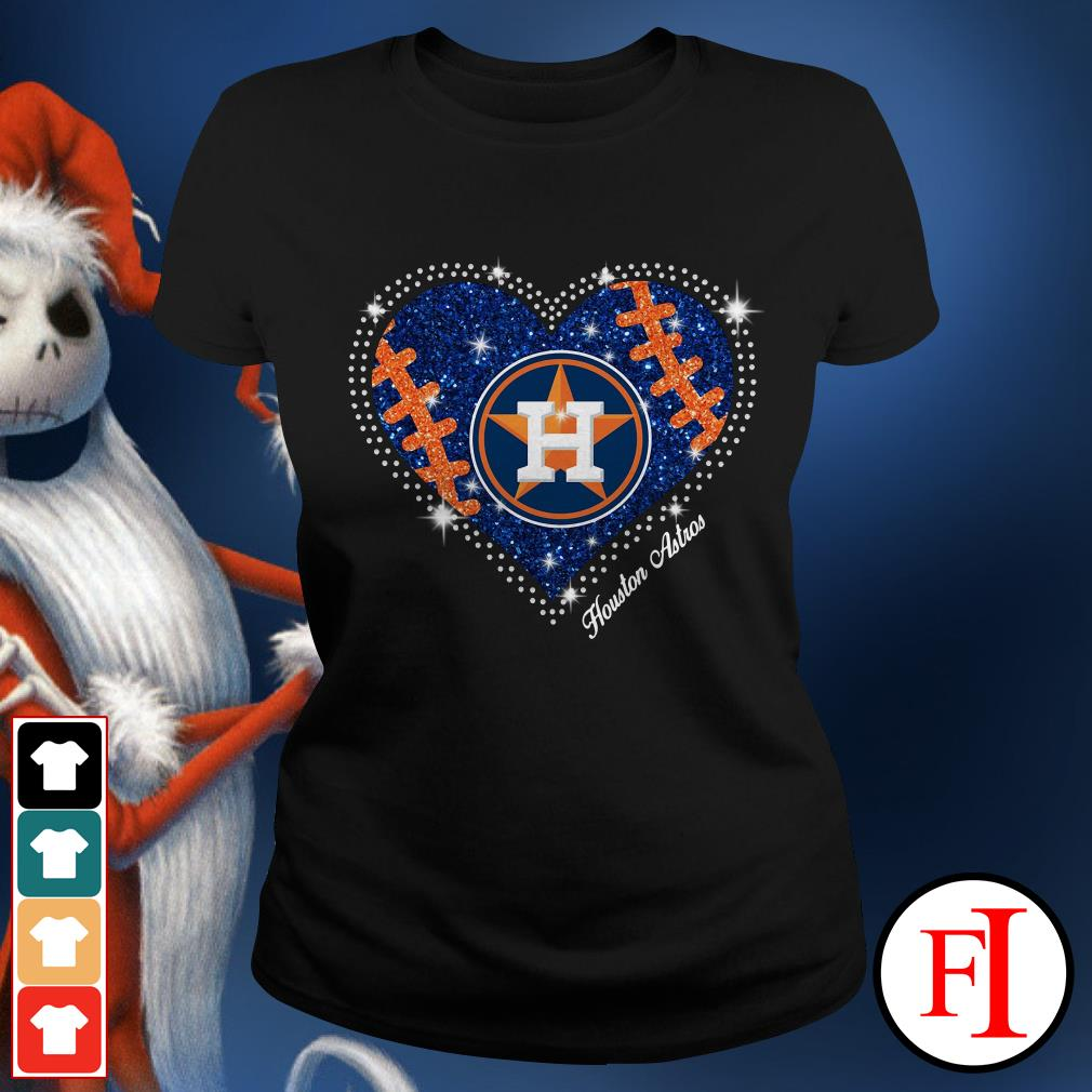 Official Houston Astros baseball heart Ladies Tee