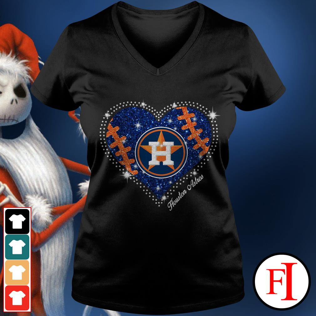 Official Houston Astros baseball heart V-neck t-shirt