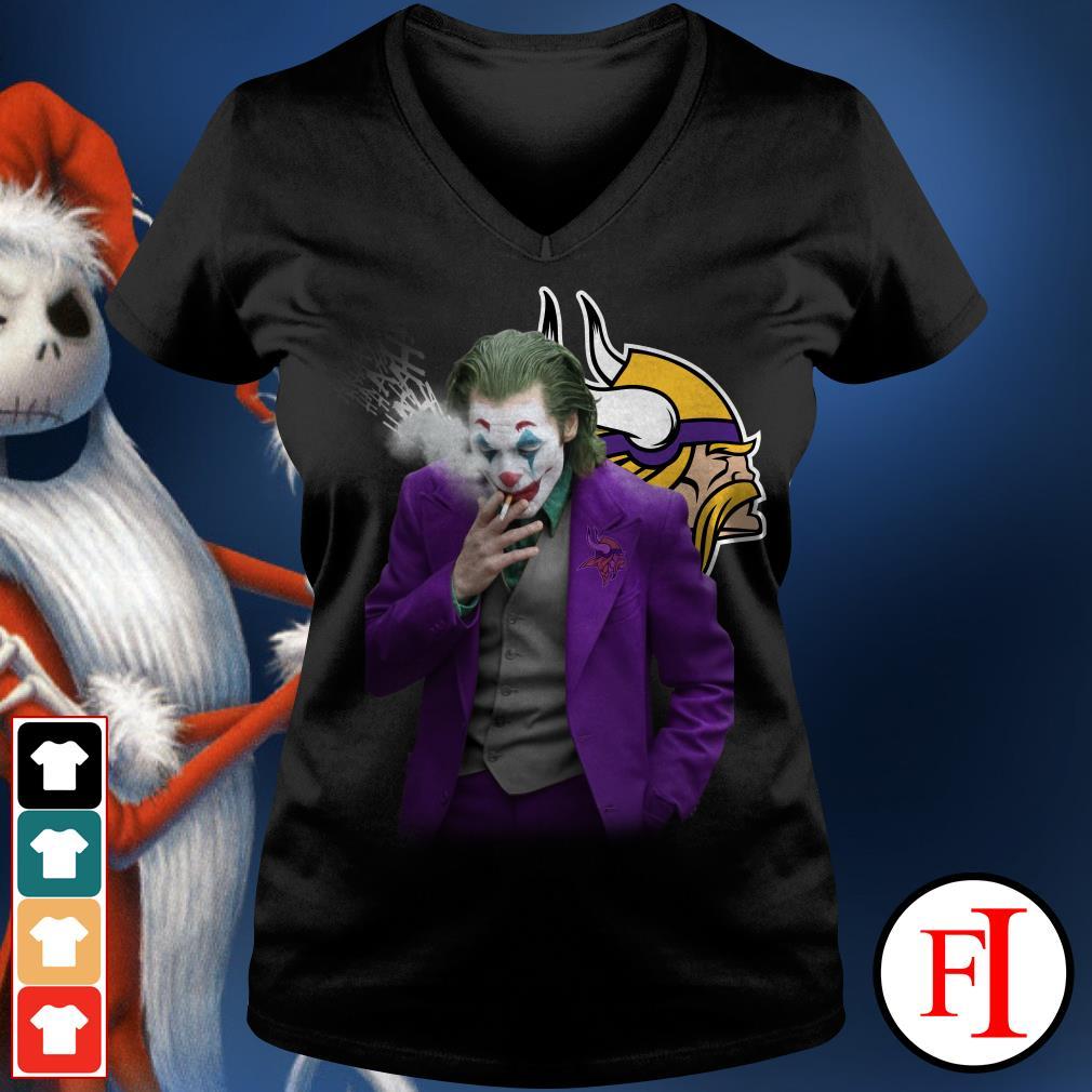 Official Joker Joaquin Phoenix Minnesota Vikings V-neck t-shirt