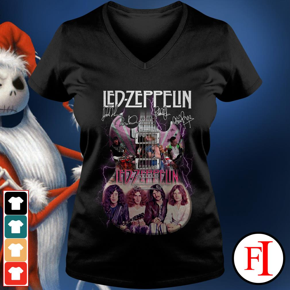 Official Led Zeppelin guitarist signatures V-neck t-shirt