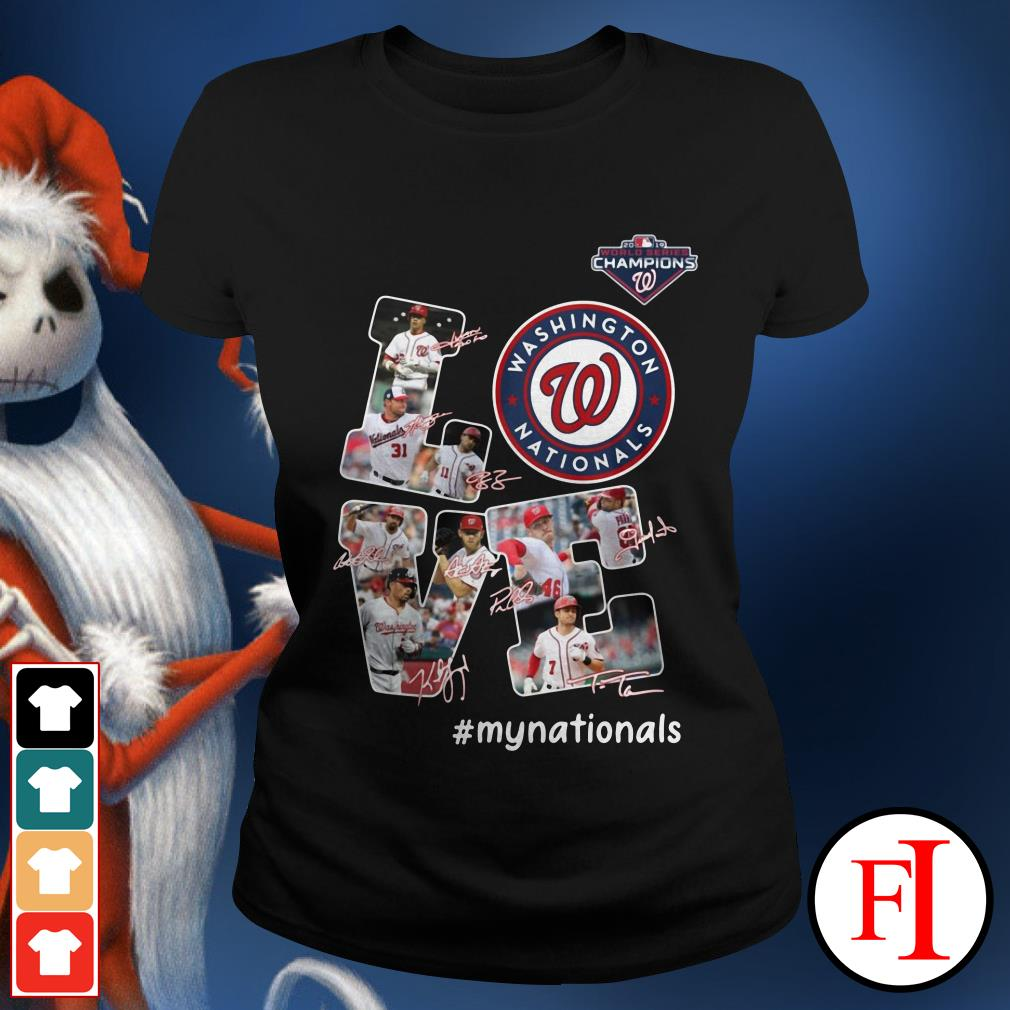 Official Love Washington Nationals my Nationals signatures Ladies Tee