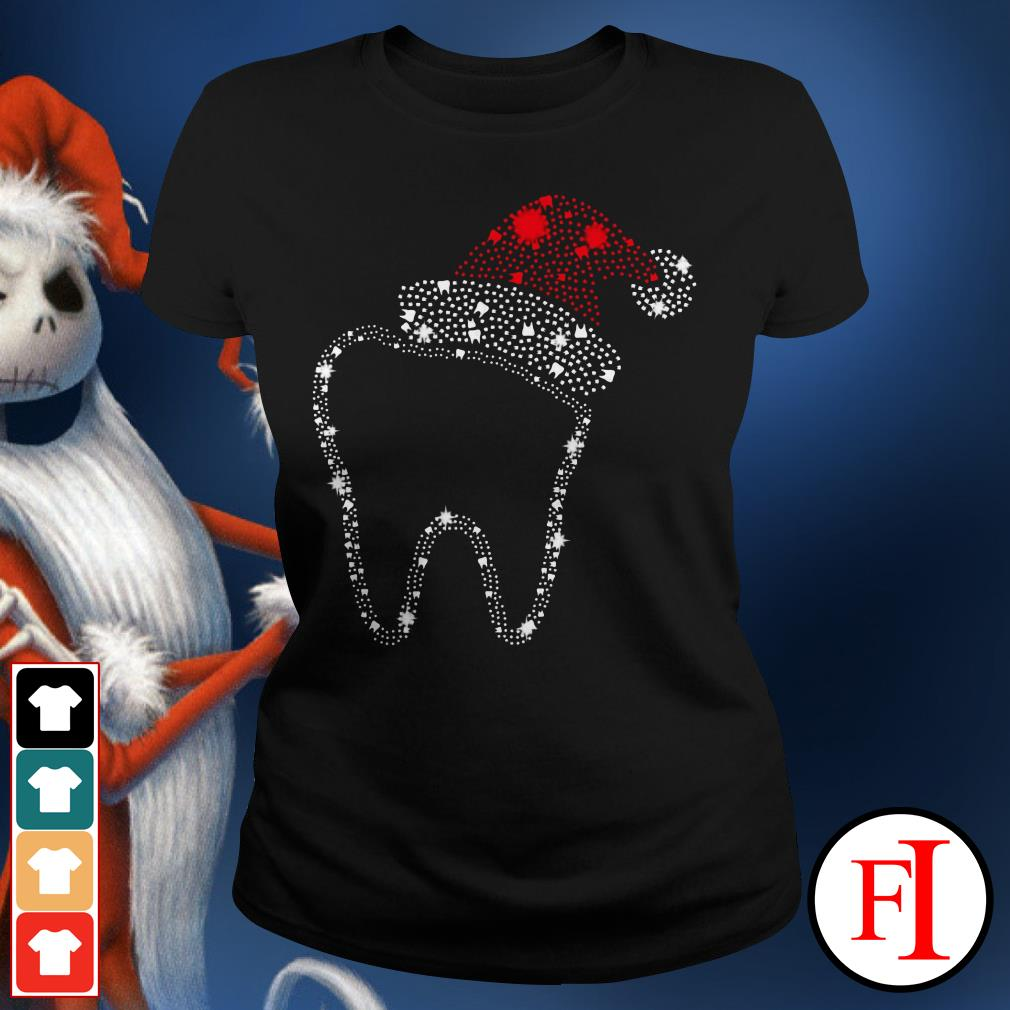 Official Teeth bright rhinestone Christmas Ladies Tee