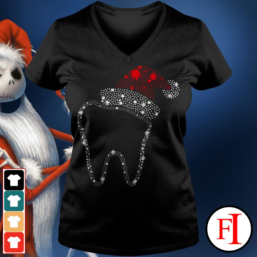 Official Teeth bright rhinestone Christmas V-neck t-shirt