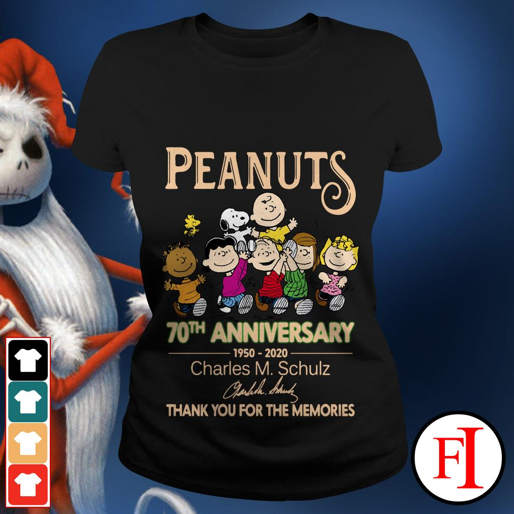 Peanuts 70th anniversary 1950-2020 Charles M. Schulz thank you for the memories signatures Ladies tee