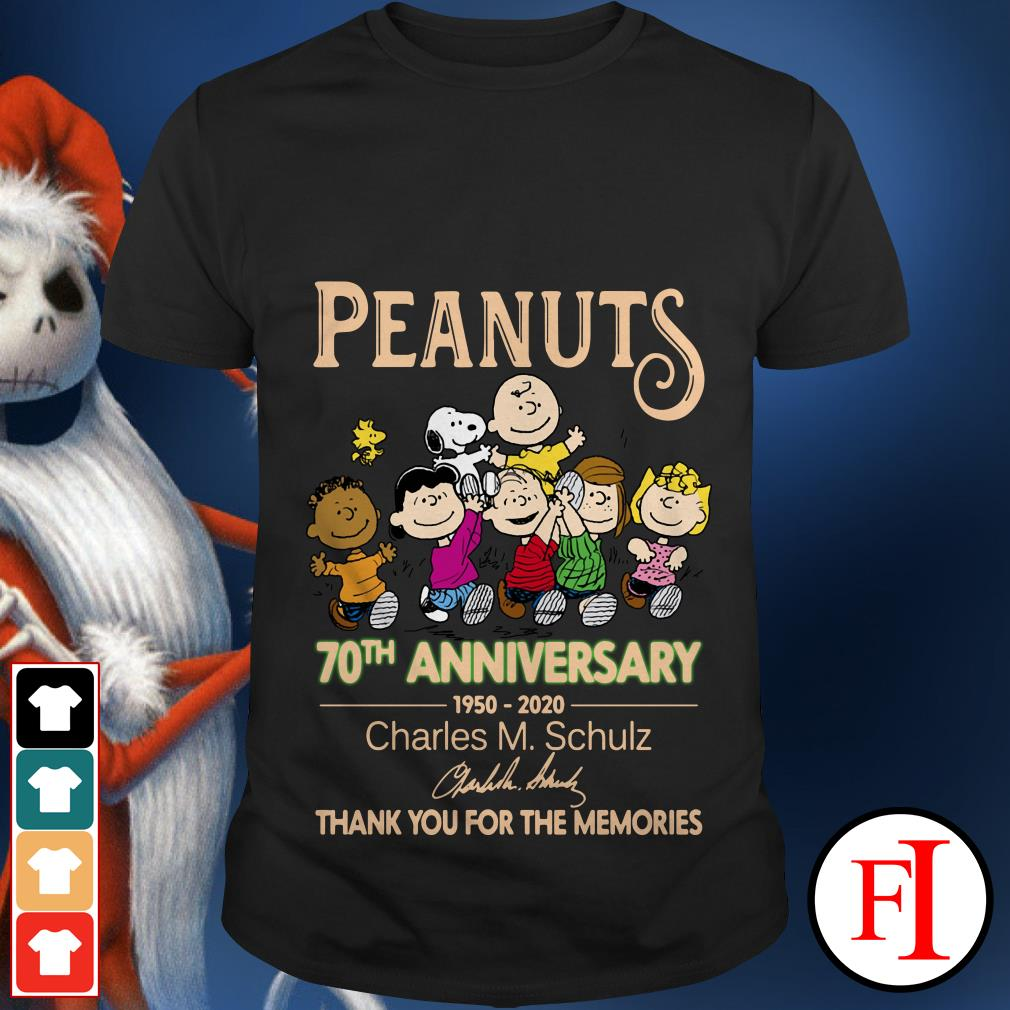 Peanuts 70th anniversary 1950-2020 Charles M. Schulz thank you for the memories signatures shirt