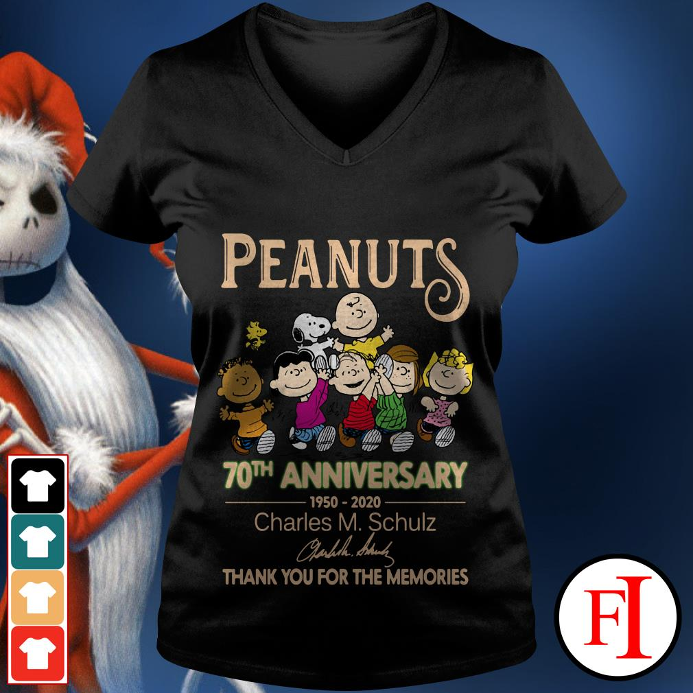 Peanuts 70th anniversary 1950-2020 Charles M. Schulz thank you for the memories signatures V-neck t-shirt