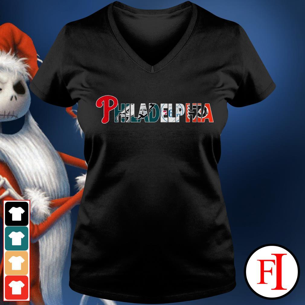 Philadelphia 76ers and Philadelphia Flyers PHILADELPHIA Philadelphia Phillies Philadelphia Eagles V-neck t-shirt