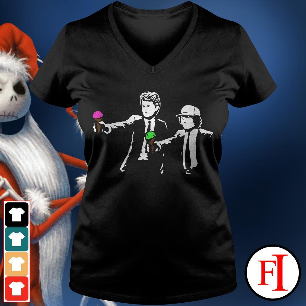 Pulp Fiction Steve and Dustin Stranger Things V-neck t-shirt