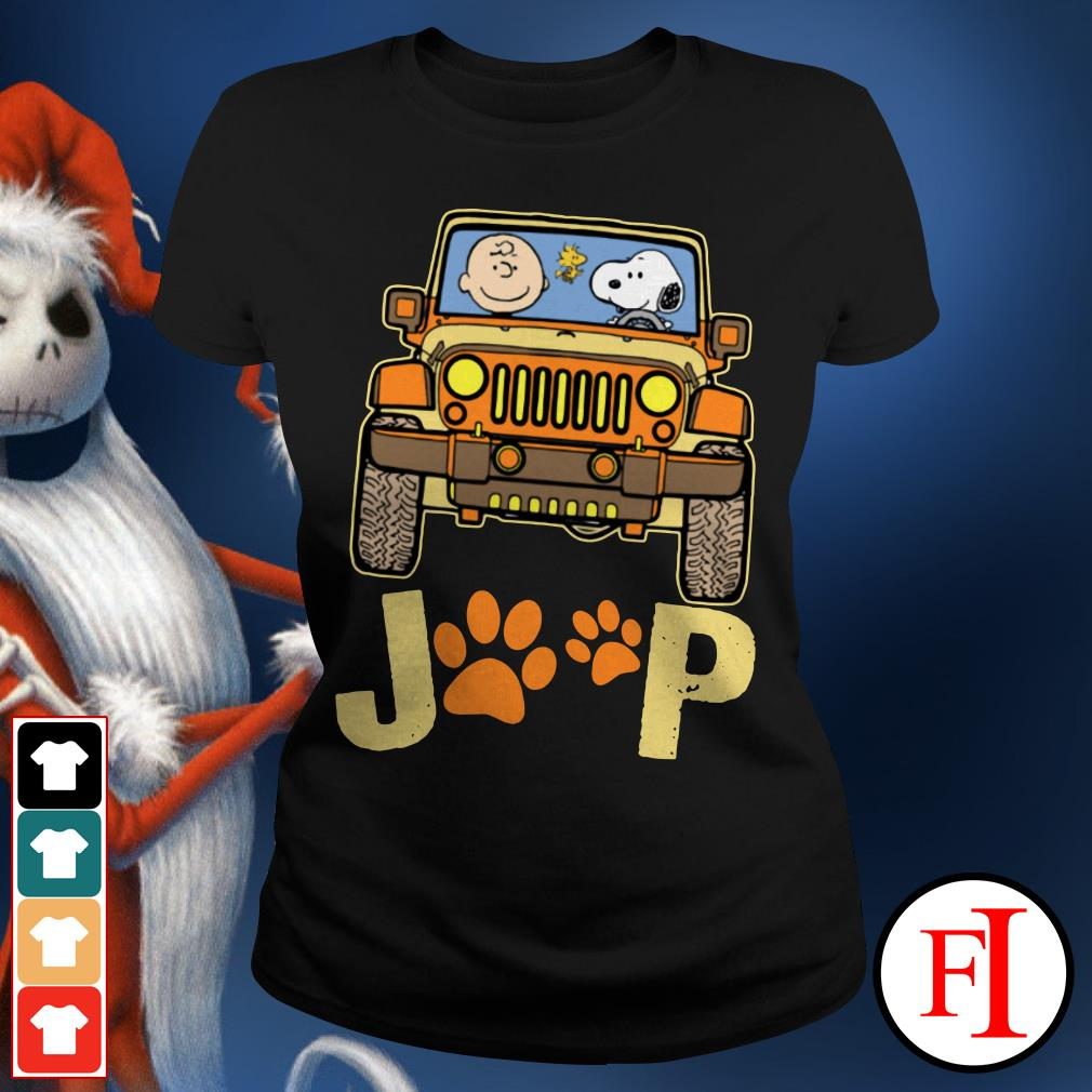 Snoopy Jeep paw and Charlie Brown dog Ladies Tee
