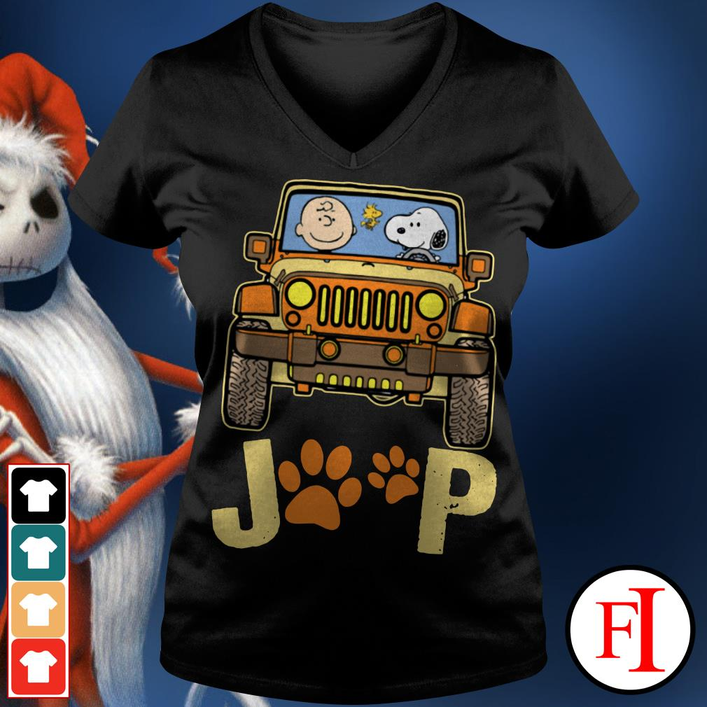 Snoopy Jeep paw and Charlie Brown dog V-neck t-shirt