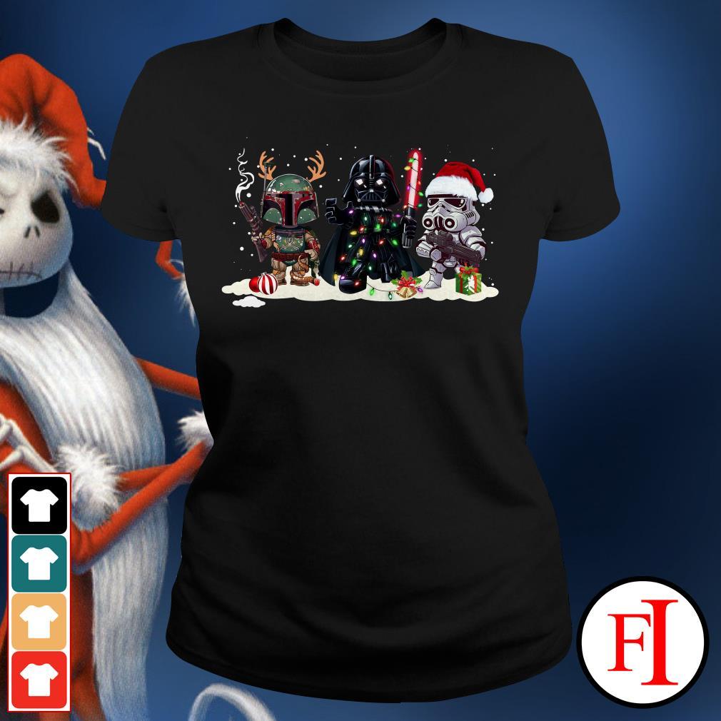Stormtrooper Christmas and Boba Fett Darth Vader Ladies Tee