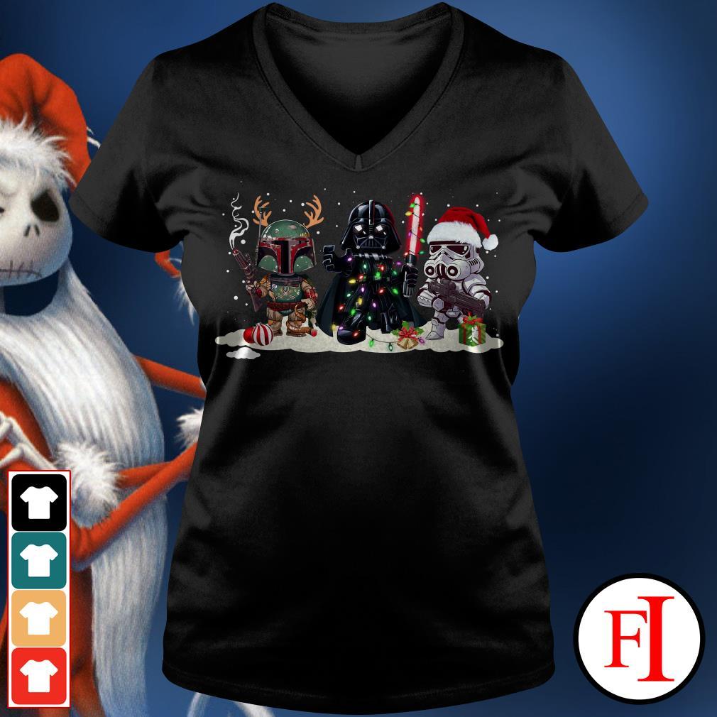 Stormtrooper Christmas and Boba Fett Darth Vader V-neck t-shirt