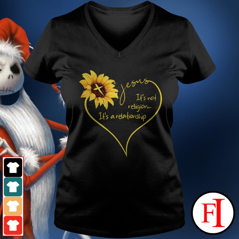 The Sunflower Jesus its not religion its a relationship V-neck t-shirt
