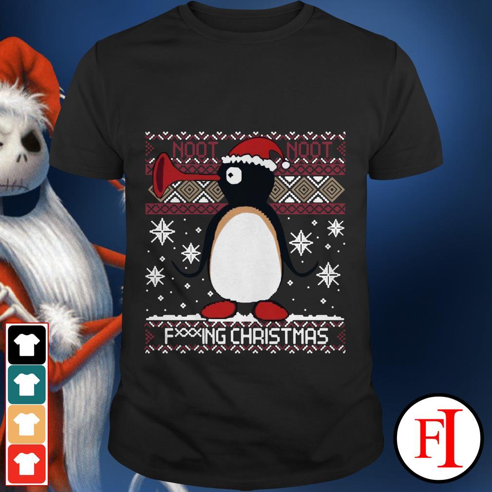 Ugly Christmas Pingu Santa noot noot fucking Christmas shirt