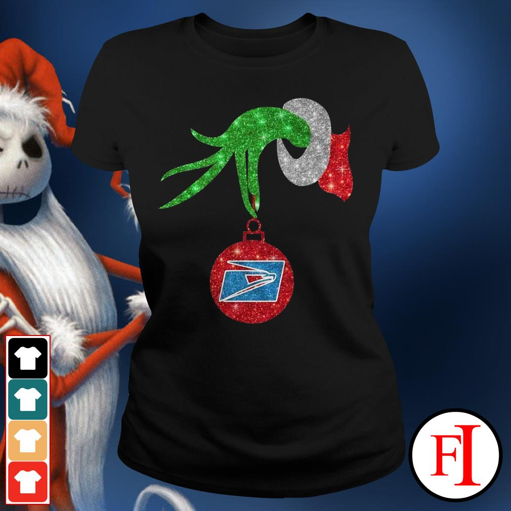 US postal service ornament Grinch hand holding Ladies Tee