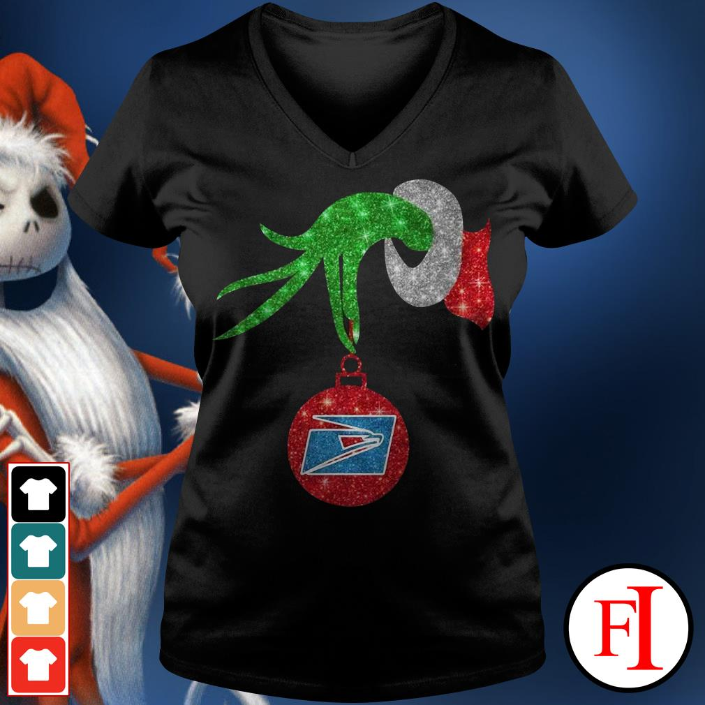 US postal service ornament Grinch hand holding V-neck t-shirt