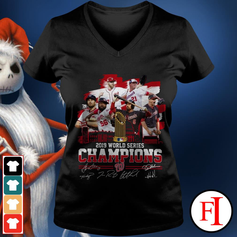 Washington Nationals 2019 World Series Champions signatures V-neck t-shirt